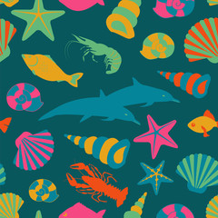 Sea animals seamless pattern. Vector flat style