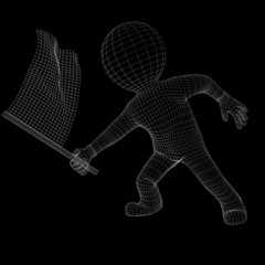 Wire-frame man with racing flag