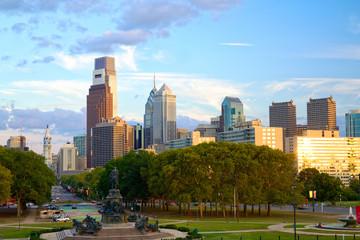 Philadelphia skyline at sunset, Pennsylvania, USA