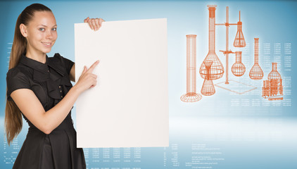 Businesswoman holding empty paper sheet.  Laboratory flasks as