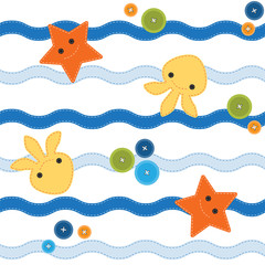 Seamless sea pattern with buttons