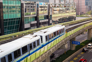metro train on the way in Taipei city