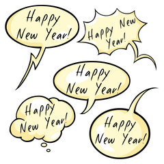 Vector Set of Greeting Bubbles with Text - Happy New Year