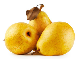 Three yellow juicy pears