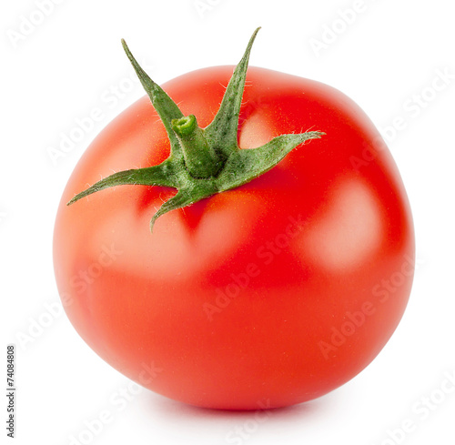 Poster Voorgerecht Bright red tomato with handle