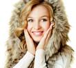 Pretty blonde in fur hood