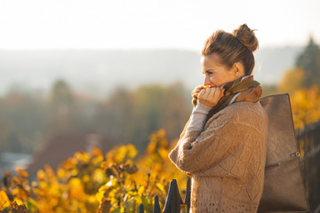 Portrait of thoughtful young woman in autumn outdoors