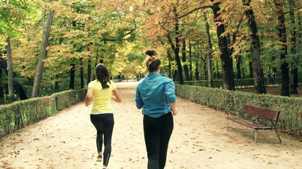 Young women jogging in the park