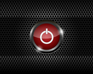 red power button on black metal mesh background