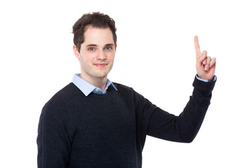 Businessman with finger raise up