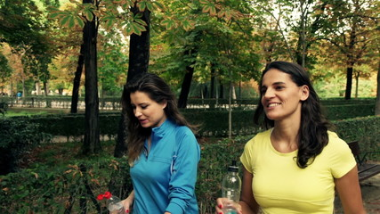 Sporty friends talking and walking in the autumn park