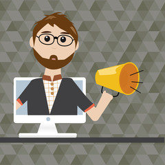 Hipster man with megaphone in  digital marketing concept