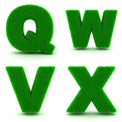 Letters Q, W,V, X of 3d Green Grass - Set.