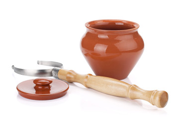 Clay pot and holder