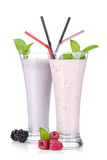 Blackberry and raspberry milk smoothie with mint