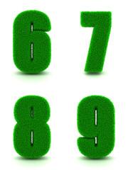Digits 6, 7, 8, 9 of 3d Green Grass - Set.