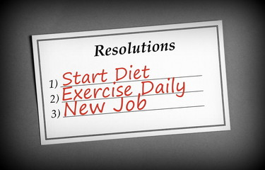 Resolutions List in Black and White with red text