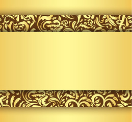 Golden card with vintage floral ornament