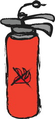 doodle red fire extinguisher