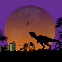 Dinosaur Silhouette at night