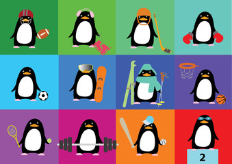 Vector collection of cute penguins with accessories of different
