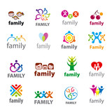 big set of vector logos family