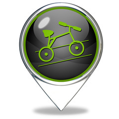 Bike pointer icon on white background