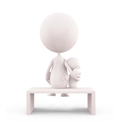 White character illustration with siting her baby