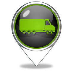 Truck pointer icon on white background