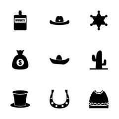 Vector wild west icon set