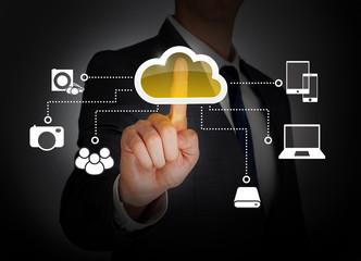 Cloud computing touch screen
