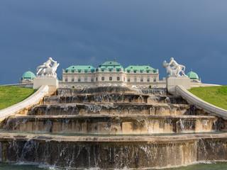 Brunnen mit Blick auf das Obere Belvedere, Wien