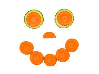 Smiley vegetarian carrot and zucchini
