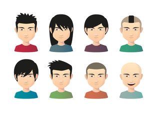 Set of asian male avatars with various hair styles