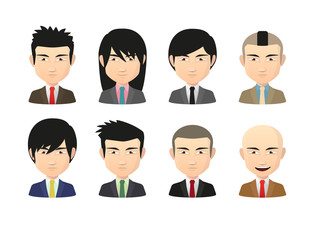 Set of asian male avatars with various hair styles wearing suit