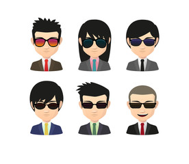 Set of asian male avatars with various hair styles wearing sun g