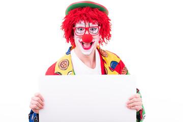 lachender clown mit brille