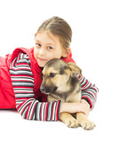 Portrait of a Girl and puppy mutts on a white background isolate poster