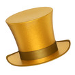 canvas print picture - 3D rendered golden decoration top hat with silver ribbon