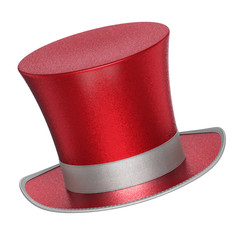 3D rendered red decoration top hat with silver ribbon