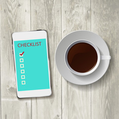 Smart phone with check list