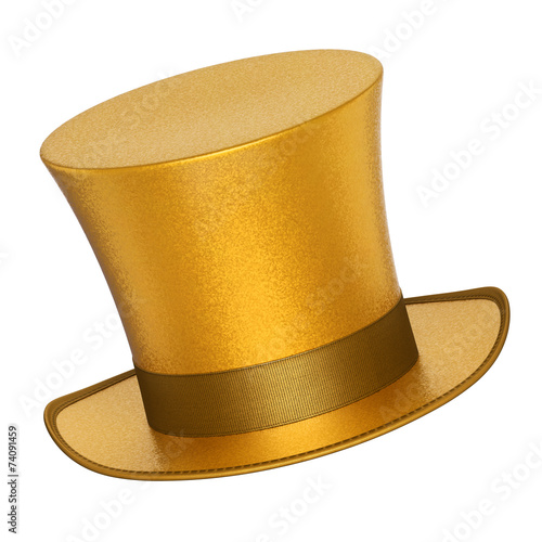 canvas print picture 3D rendered golden decoration top hat with silver ribbon