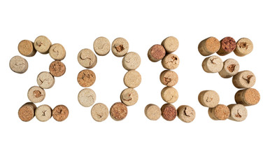 Wine corks closeup 2015 on a white background