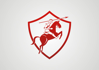 Solider throw lance with horse vector logo