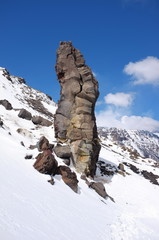 Rock Formation In Snowy Etna Park, Sicily