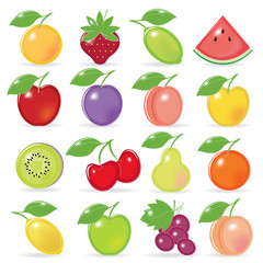 Retro-stylized fruit icons with reflection and shadow