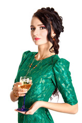 Beautiful young woman with a glass of champagne