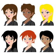 Different women avatar vector illustration set collection