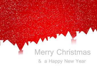 Santa sleigh flying over city