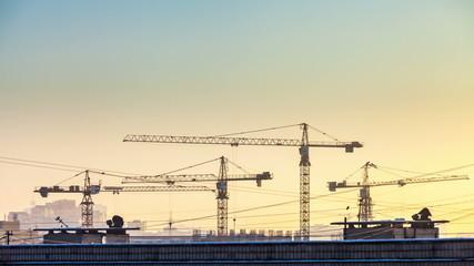 Timelapse construction cranes